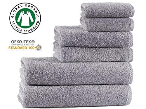 Seventex Toallas saludables, juego de toallas de algodón orgánico puro Egeo, algodón, gris, 2 Bath + 2 Hand + 2 Face Towels