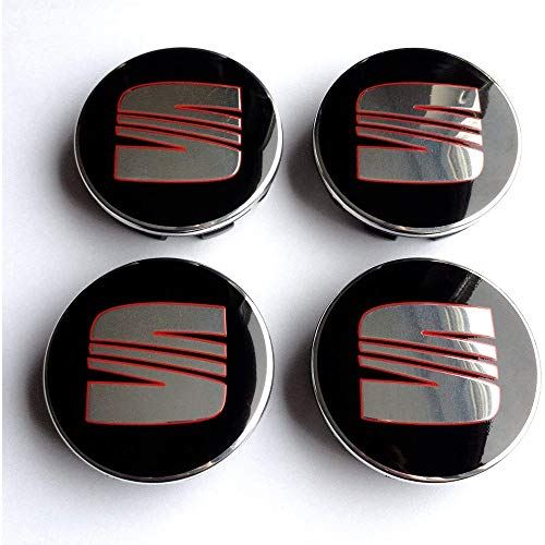 Auto 4 pièces 60mm,Cache-moyeux Alliage Couverture Centrale de Moyeu Badge emblème Capuchon de Moyeu, pour Seat Ibiza Leon
