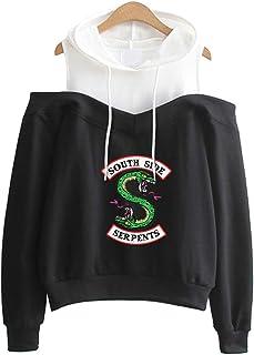 Felpa Riverdale Southside Serpents Donna Bianca Girocollo Felpa Sportive Maglione Vintage Manica Lunga Maglia Collo Alto per Ragazza
