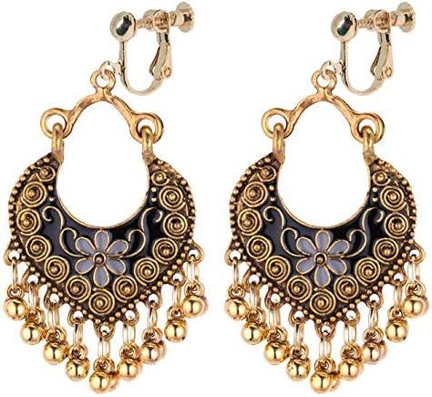 Boho Clip on Dangle Earrings for Girls Women Gold Tone Crescent Enamel Flower Small Ball Drop Fashion