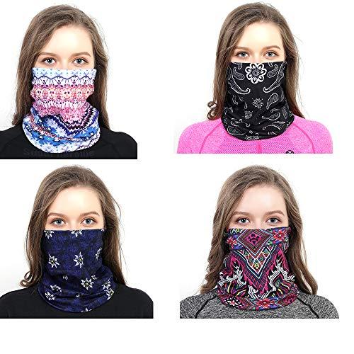 dzgreat 4 Pack Gesichtsbedeckung Multifunktionstuch Motorrad Mundschutz Halstuch Bandana Schlauchschal Halstücher für Damen Herren (Style A)