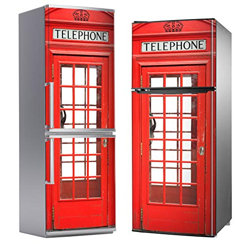 MEGADECOR Vinilo Adhesivo Decorativo para Nevera, Especial Libre De Burbujas, Cabina Telefónica Británica Roja (185cm x 70cm)