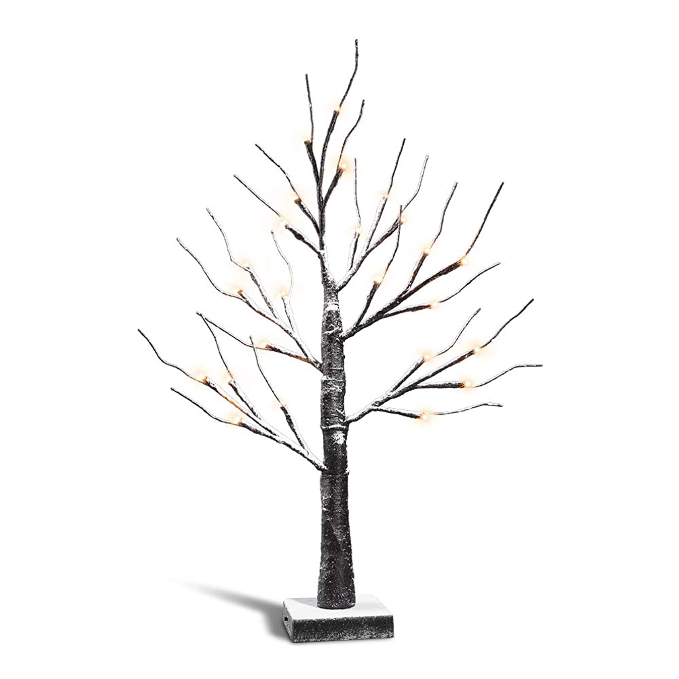Zanflare Snow Birch Tree Lights, 0.6M/23.6 Inch 24 LEDs Battery Operated Desk Tree Light, Warm White Bonsai Tree Light, Birch Twig Tree for Christmas, New Year, Home, Party, Birthday, Wedding