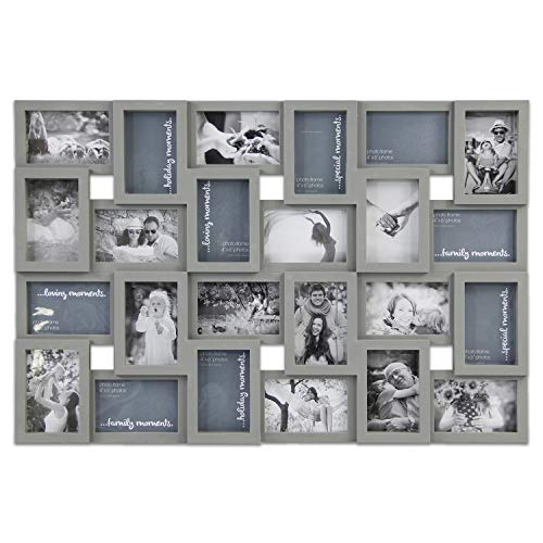 Hello Laura - Photo Frame Picture Frame - 24 Sockets Gray Finish Frame Collage Collection Wall Hanging Picture Photo Display Frame 4 x 6 Large Multi Decor Home Family Friend (24 Sockets)
