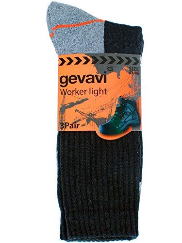 Gevavi Gevavi Workwear GW8000430 GW80 Worker Light Strumpfe 3 Paar, 43-46, Schwarz