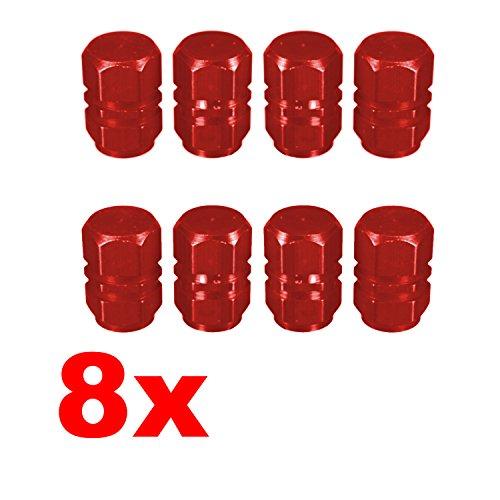 Adatech 8 x Tapones para válvula. Tapones para Rueda Coche, Moto. Tapones para válvula de neumático. Color Rojo