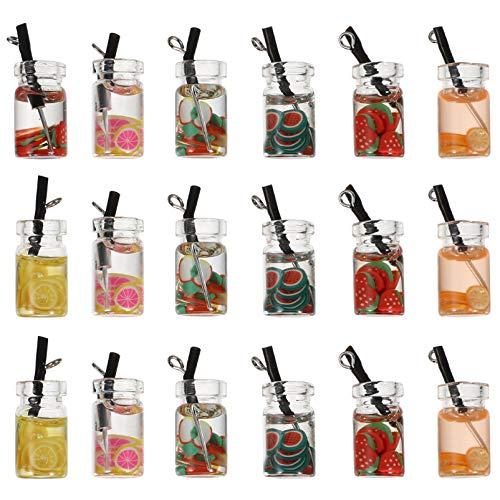 EXCEART 30 Piezas de Mini Amuletos de Té de Leche Colgantes de Té de Fruta Creativa Colgantes de Botellas Colgantes para Pendientes Collares Colgantes Llavero Accesorios Artesanales