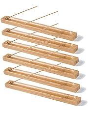 6 stuks bamboe hout wierookstokjes houder Incense Burner as catcher 9,05 inch lang (wilde kleur)