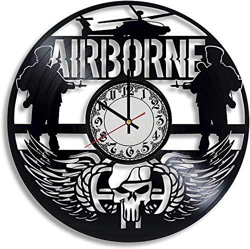 jjyyy Reloj de Pared de Vinilo aerotransportado Reloj de Pared Militar Hombres