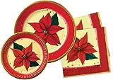 Ciao-Kit Party Tavola Stella di Natale persone (100 pezzi Ø28cm, 30 piatti Ø23cm, 40 tovaglioli carta 33x33cm), Single, Multicolore, Y4389