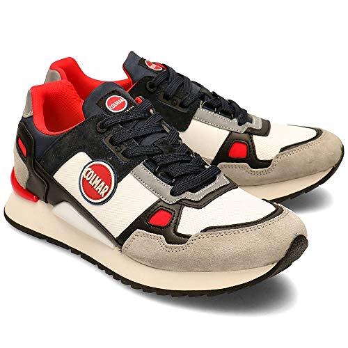 COLMAR Sneaker Männer Leder Tyler Schlagen LT Grau-Navy-Red Modell Beat. Kollektion Frühjahr Sommer 2020. EIN Perfekter Schuh für die Freizeit ohne modernes Aussehen zu Opfern. EU 43