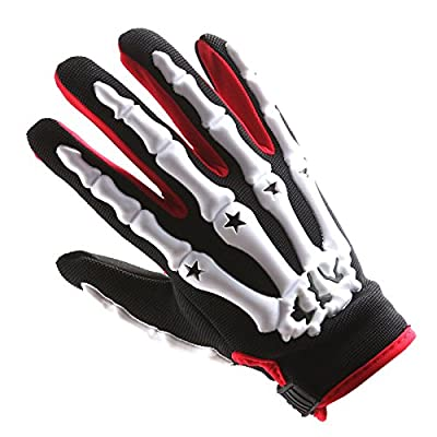 Adult Motocross Gloves Motorcycle BMX MX ATV Dirt Bike Bicycle Skeleton Cycling Gloves White