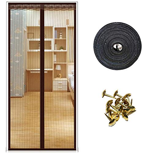 CYGJ Brown Insect Screen Window Magnetic 90x210cm / 35x82inches Outside Door Curtain for Balcony Sliding Doors Living Room,Easy to Install Without Drilling