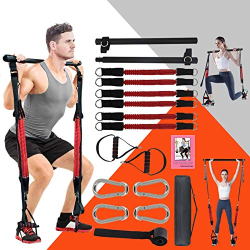 KIKIGOAL Upgraded Adjustable Pilates Resistance Band and Toning Bar Home Gym, Portable Pilates Total Body Workout, Yoga, Fitness, Stretch, Sculpt, Tone (with 6 pcs Resistance Bands)