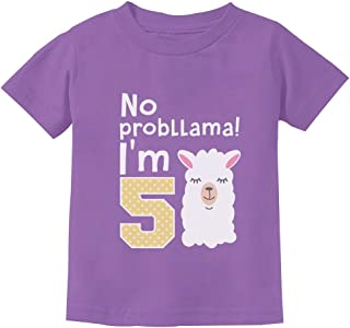 5 Year Old Girl Birthday Gift No Probllama Youth Kids T-Shirt