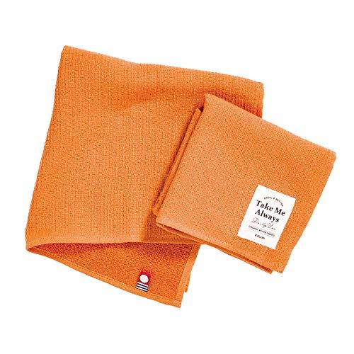 B-PLAID タオルハンカチ TakeMe 今治タオル 2枚セット 日本製 【選べる12色】 約34×34cm 速乾 瞬間吸水 毛羽レス 綿100% メンズ レディース オレンジ