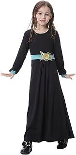 IBTOM CASTLE Kids Muslim Islamic Girls Long Sleeve Robe Abaya Burka Arab Prayer Kaftan Jilbabs Runway Gown Dress