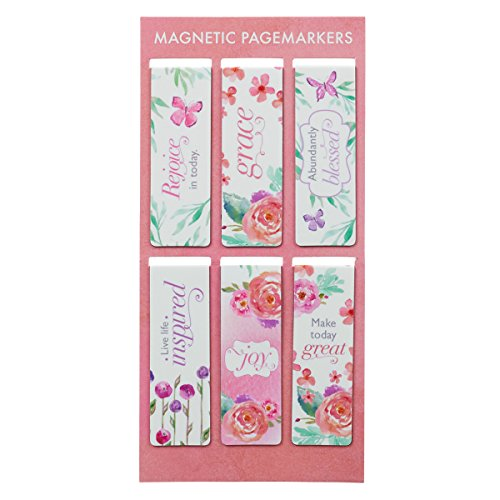 Christian Art Gifts Set of 6 Pink and Purple Blossoms and Butterfly Inspirational Magnetic Bookmark with Scripture, Size Small 2.3' x .75'