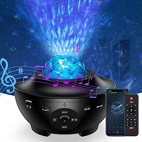 Bellababy Proyector Estrellas LED Luz de Noche, Proyector de Galaxia, Luces Nocturnas de Olas Oceánicas, Reproductor de Música que Cambia de Color con Función de Temporizador y Bluetooth
