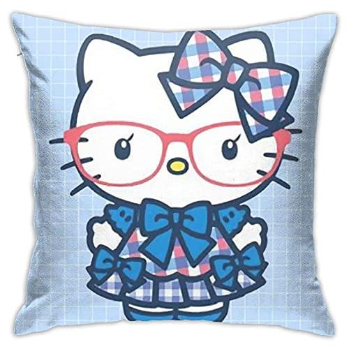 pingshang Funda de almohada cuadrada decorativa con diseño de Hello Kitty con gafas, funda de cojín para el hogar, oficina, sofá, 45,72 x 45,72 cm