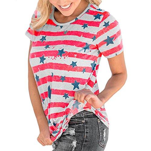Alikeey dames t-shirt blouse, casual, korte mouwen en gestreept, T-shirt met sterren, ronde hals en korte mouwen voor dames, wit/rood
