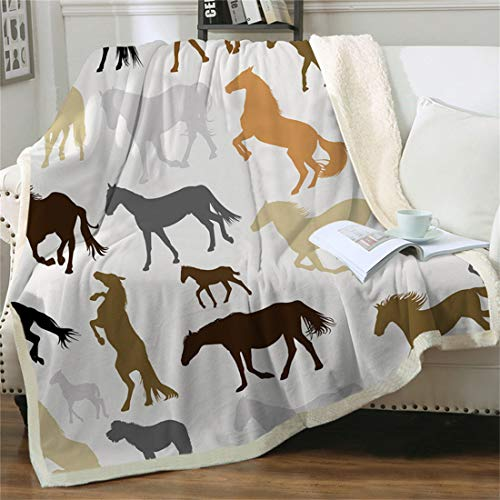 Chifave Horse Blanket, Kids' Throw Blanket Ponies Animals Cavalry Plush Cowgirl Cowboy Western Fleece Couch Blanket with Horses for Boys Girls Sofa Bed & Office (Style 1, 50' x 60')