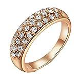 GYJUN Cristales austriacos color de rosa/oro plateado anillo de compromiso de piedra de la CZ , 8