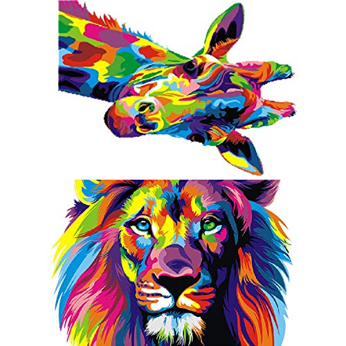 2 Sets Kits de Pintura de Diamantes 5D con Patrones de Animales Pintura de Cristal Diamantes de Imitación Redondo de Taladro Completo de Ciervo León Pinturas Bordadas de Arte Joyas, 12 x 16 Pulgadas