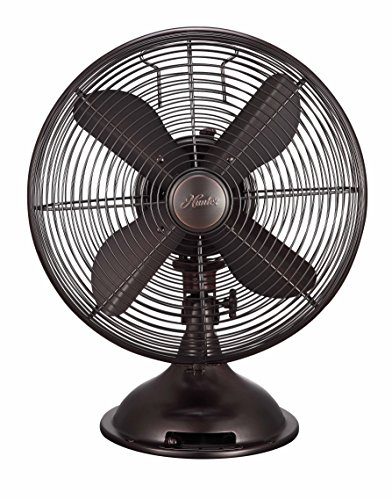 "HUNTER 12"" Retro Table Fan with All-Metal Construction (Onyx Copper)"