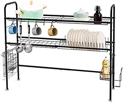 HEOMU Over The Sink Dish Drying Rack,2-Tier Dish Drainers for Kitchen Counter Made of Length Adjustable Stainless Steel by