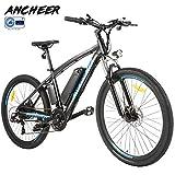 ANCHEER Elektrofahrrad Ebike Mountainbike, 26'/27.5' Elektrisches Fahrrad mit 36V 8Ah/10Ah/12Ah Lithium-Batterie und Shimano 21-Gang (27.5' Explorer Schwarz rot 10Ah)
