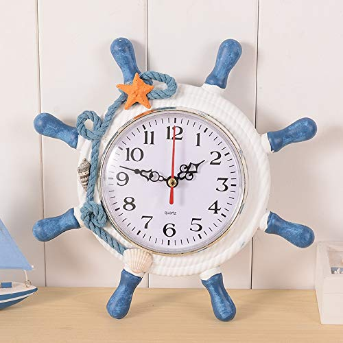 hhxiao Reloj Despertador Digital Reloj de Escritorio Marinero timón Graber Despertador Digital Reloj de Inicio Decoración mediterránea Mar de Madera Reloj de Pared