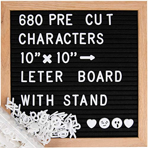 ABELL Felt Letter Board Include 680 Pre-cut Letters, 10x10 Inches Message Changeable Board for Farmhouse Office Rustic Home decor