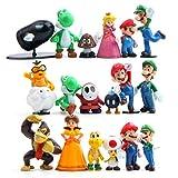 EASTVAPS 18Pcs Super Mario PVC Figure Bros Luigi Figuras de acción Yoshi Mario