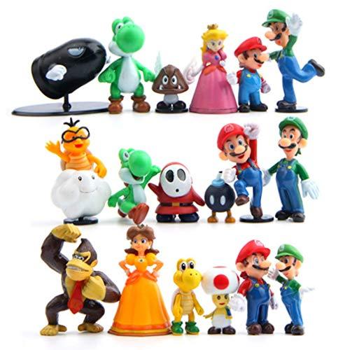EASTVAPS 18pcs Super Mario Figurine PVC Bros Luigi Figurines Yoshi Mario