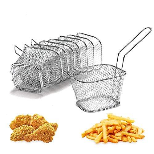 Fdit Lot de 8 Mini carrée en Acier Inoxydable Chips friture paniers à Servir Nourriture Présentation Passoire de Pommes de Terre Outil de Cuisson Vaisselle, Table de Service