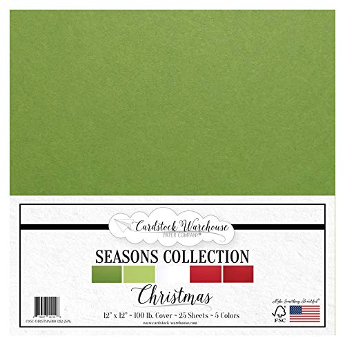 Christmas 100 lb. Cardstock - 12 x 12 inch - 25 Sheet Package