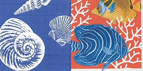 Entertaining mit Caspari Papier Cocktail-Servietten, 40Stück... Shells Ocean Blue & Coral Reef