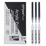 SUPERSUN 0.7mm Acrylstifte Feine Spitze, 6 Pack Acrylfarbe Wasserfest Holz Stift Farbe für Steine...