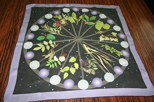 Pure Silk Altar or Tarot set - Celtic Tree Calendar - Altar or Tarot Cloth with Drawstring Bag - Divination Cloth, Casting Mat, Tarot Mat with Pouch