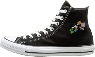 Mickey Dunk Canvas Shoes High Top Design Black Sneakers Unisex Style