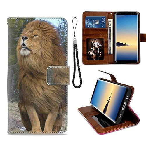 xtlxr - Custodia a portafoglio per Samsung Galaxy S7 Edge, con motivo Re Leone 4, in pelle PU, da donna