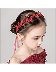 IYOU Princesa Flor Roja Headpiece Pearl Hair Dress Crystal Nupcial Boda Accesorios para el pelo para niñas de flores