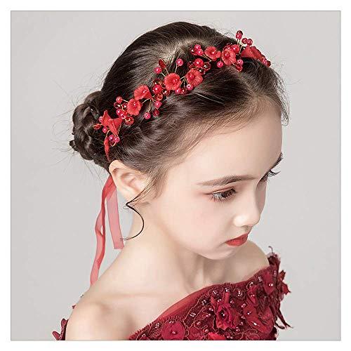 IYOU Prinzessin Rote Blume Kopfschmuck Perle Haar Kleid Kristall Braut Hochzeit Haarschmuck für Blumenmädchen