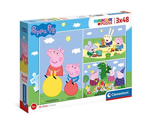 Clementoni- Peppa Pig Supercolor Pig-3x48 (3 48 Pezzi) -Made in Italy, Puzzle Bambini 4 Anni+, Multicolore, 25263