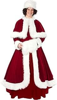 Belle of The Chrimast Ball Women Size 10-14 - Halco Mrs Claus Dress Capelet Bundle w Santa Guide Burgundy