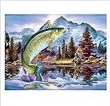 Diy Malen Nach Zahlen Fischer Und Großer Fisch Koration Swand Kunst Anstrichgeschenk Weihnachten