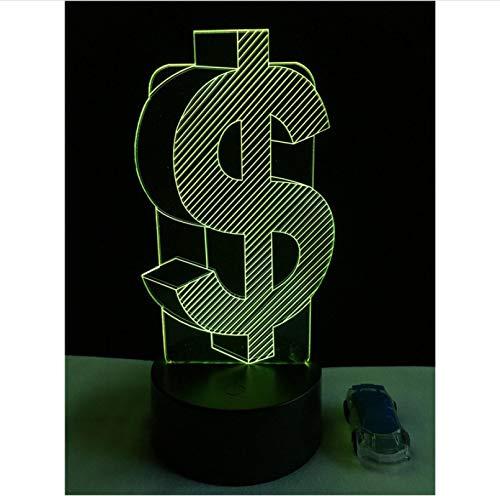 Dormitorio Luz de Noche Creativo Símbolo de Dólar 3D LED USB Multicolor Lámpara de Mesa Casa Fiesta Decorativa Iluminación Niño Regalos Toque 7 Colores