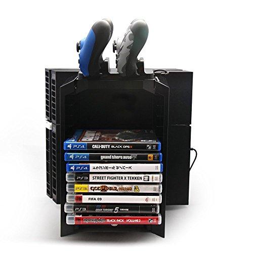 GAMINGER TORRE DE JUEGOS para PlayStation 4 PS4 Consola con Estación de Carga y BluRay Compartemento Estantería de Multi - Uso