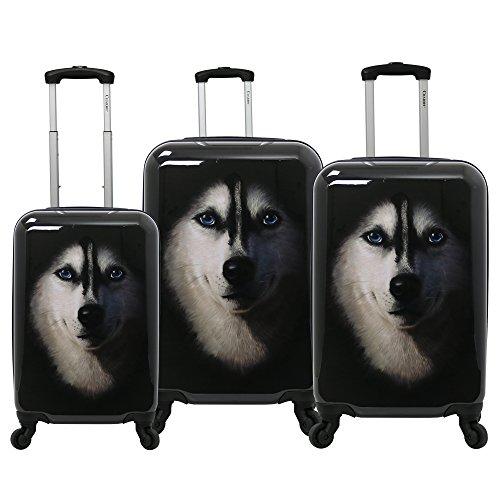 Chariot Dog 3-Piece Expandable Hardside Lightweight Spinner Luggage Set, Husky